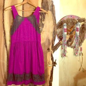 FREE PEOPLE Magenta+ Gray Lace Mini Swing Dress 8